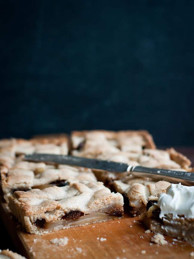 dried fig pear tart with honey creme fraiche