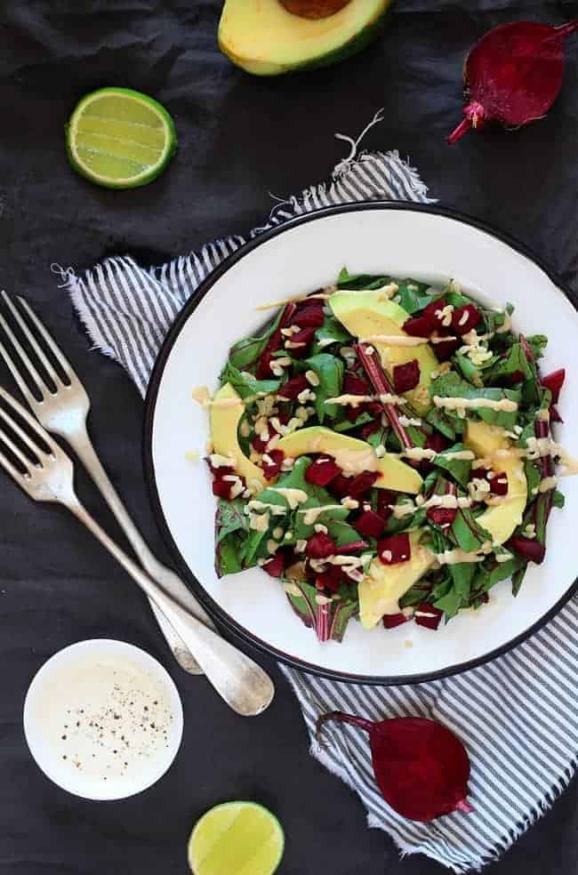 Beet Greens with Avocado and Creamy Tahini Dressing Recipe | HelloGlow.co