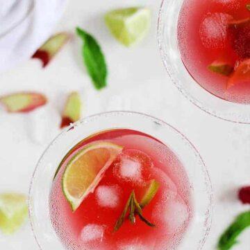 Raspberry Rhubarb Margarita - HelloVeggie.co