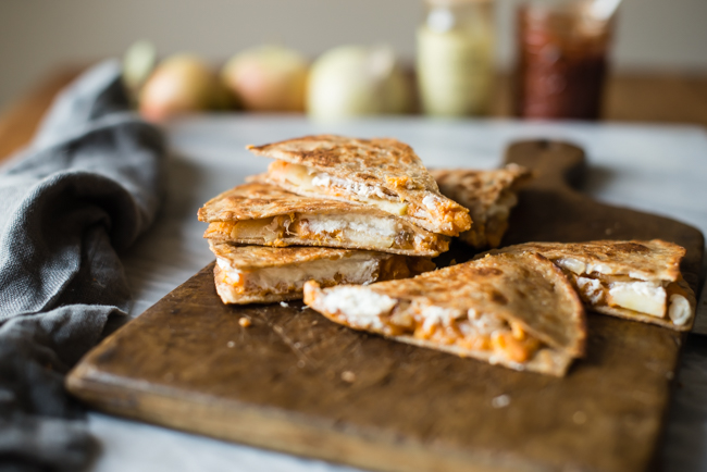 Sweet Potato Quesadilla with Goat Cheese and Apples   HelloGlow.co