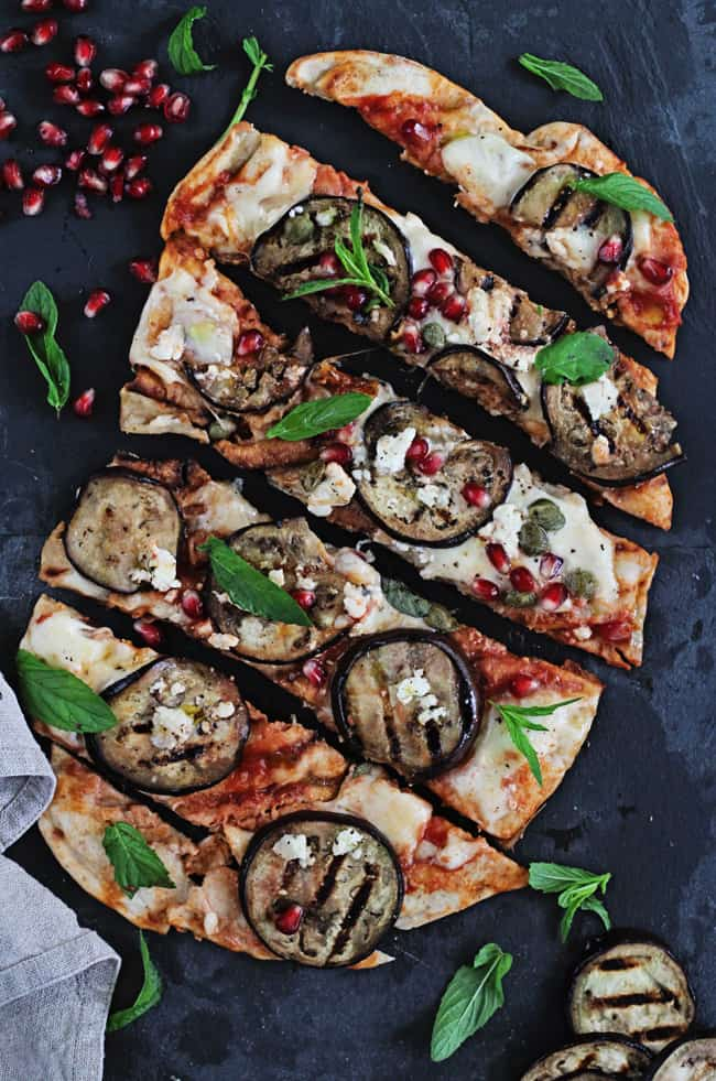Grilled Pizza Recipe with Eggplant, Pomegranate and Feta
