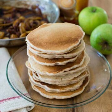 Apple Butter Pecan Pancakes - HelloVeggie.co