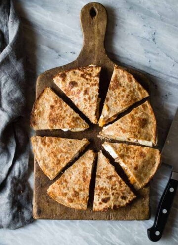 Sweet potato, apple, goat cheese quesadilla - HelloVeggie.co