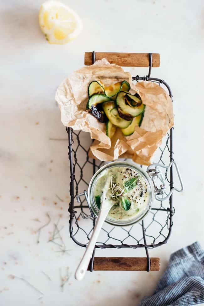 Rosemary Garlic Bean-Free Hummus + Zucchini Chips