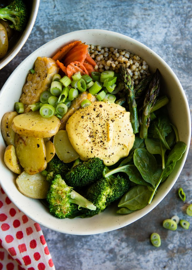 Spring Buddha Bowl with Creamy Turmeric Dressing