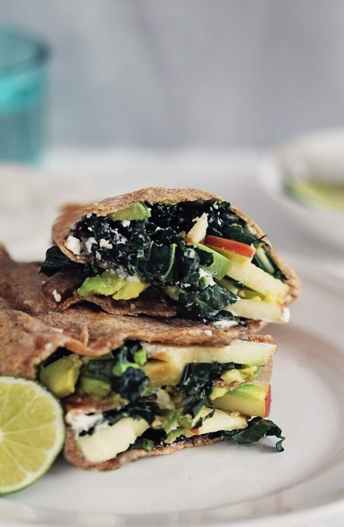 An Unexpectedly Delicious Fall Lunch: Kale, Apple and Avocado Wraps