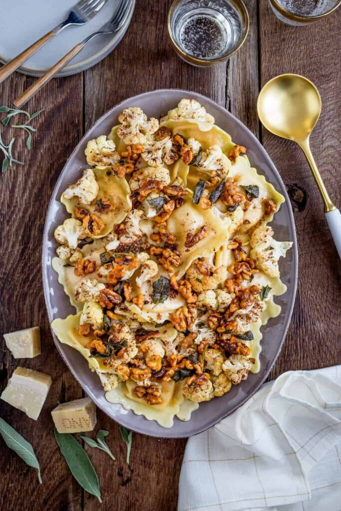Butternut Squash Ravioli with Roasted Cauliflower + Brown Butter from Hello Glow