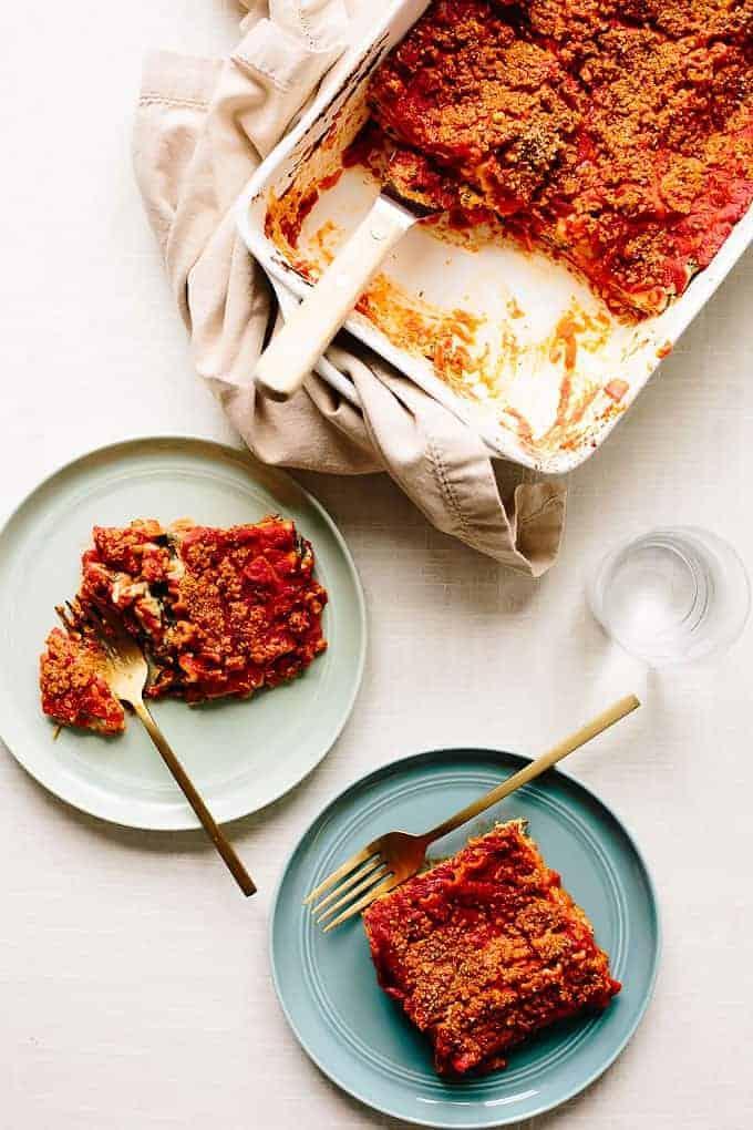 Easy Vegan Spinach Alfredo Lasagna from Blissful Basil