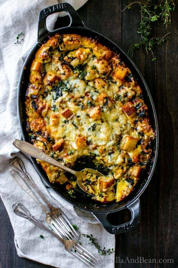 Kale, Mushroom, and Leek Savory Bread Pudding from Vanilla and Bean