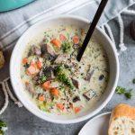 Creamy Wild Rice and Portobello Mushroom Soup from Hello Veggie