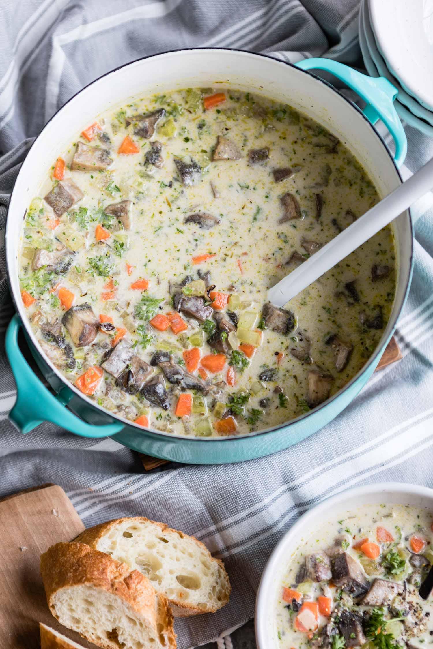 Creamy Wild Rice and Portobello Soup