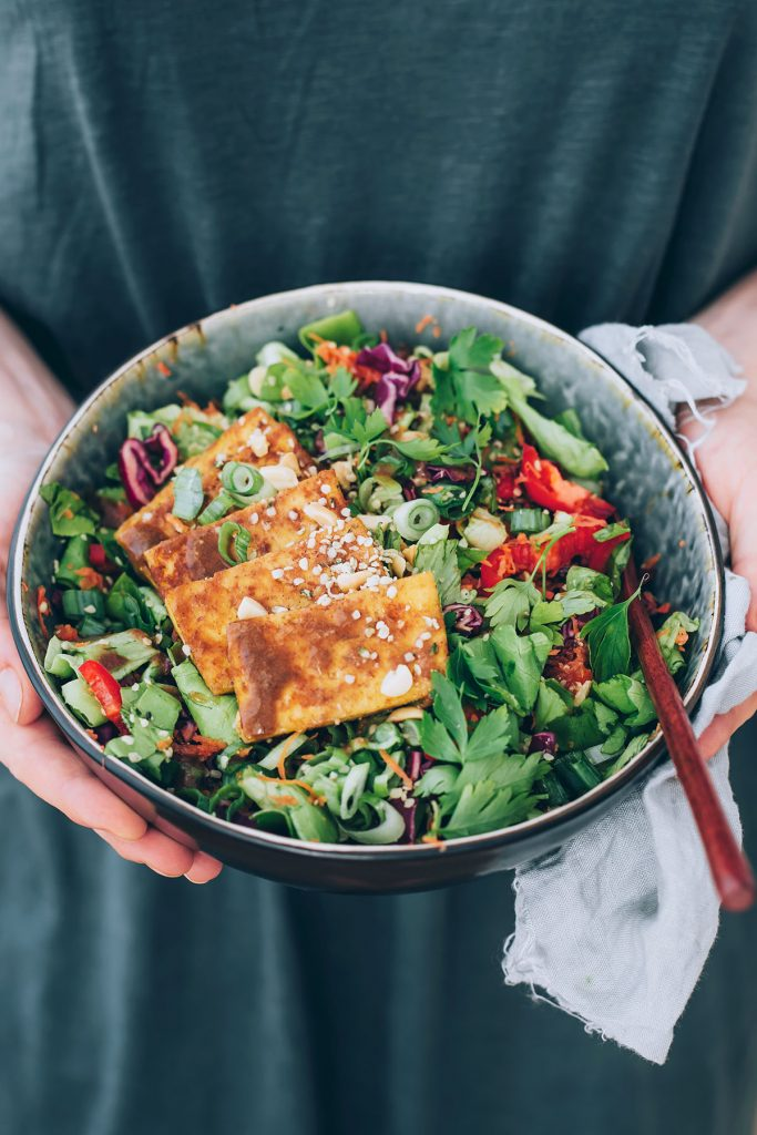The Ideal Meal Prep Salad: Miso-Almond Power Salad with Baked Tofu