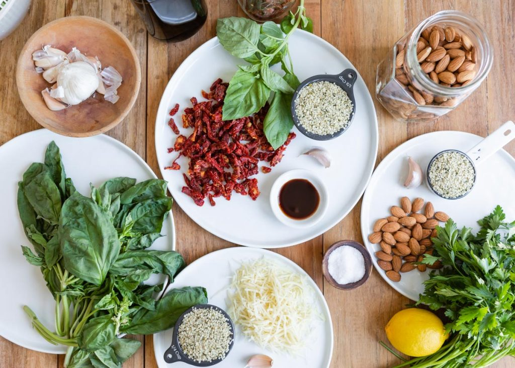 Hemp Seed Pesto 3 Ways: Classic Basil, Balsamic Sun-Dried Tomato + Lemon Parsley