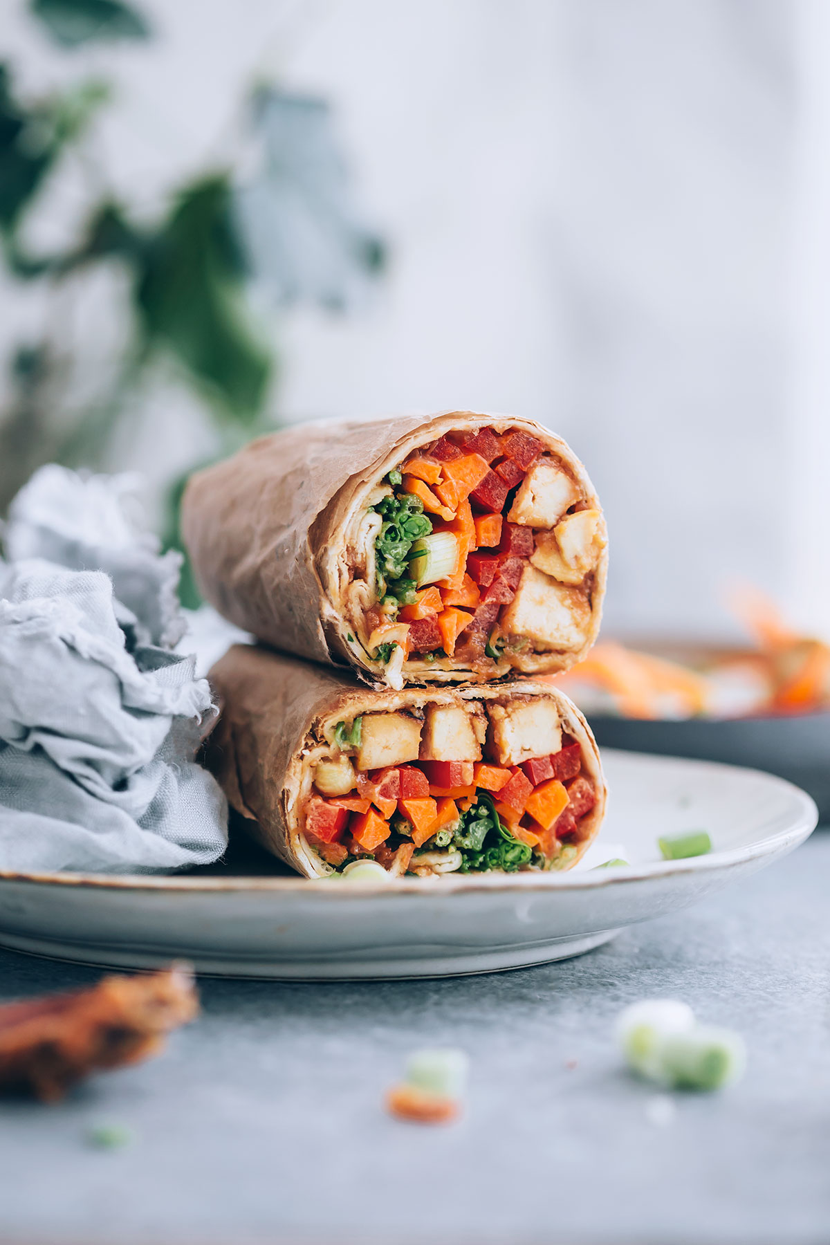 Packed With Protein and Veggies, These Ginger Peanut Tofu Wraps Are a Lunchtime Win
