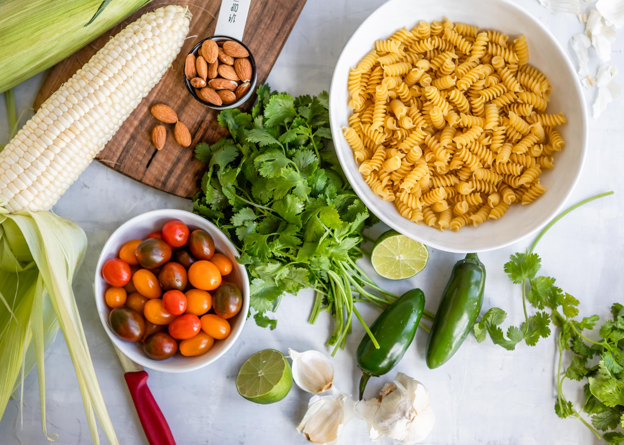 Jalapeño Cilantro Pesto Rotini with Grape Tomatoes and Sweet Corn