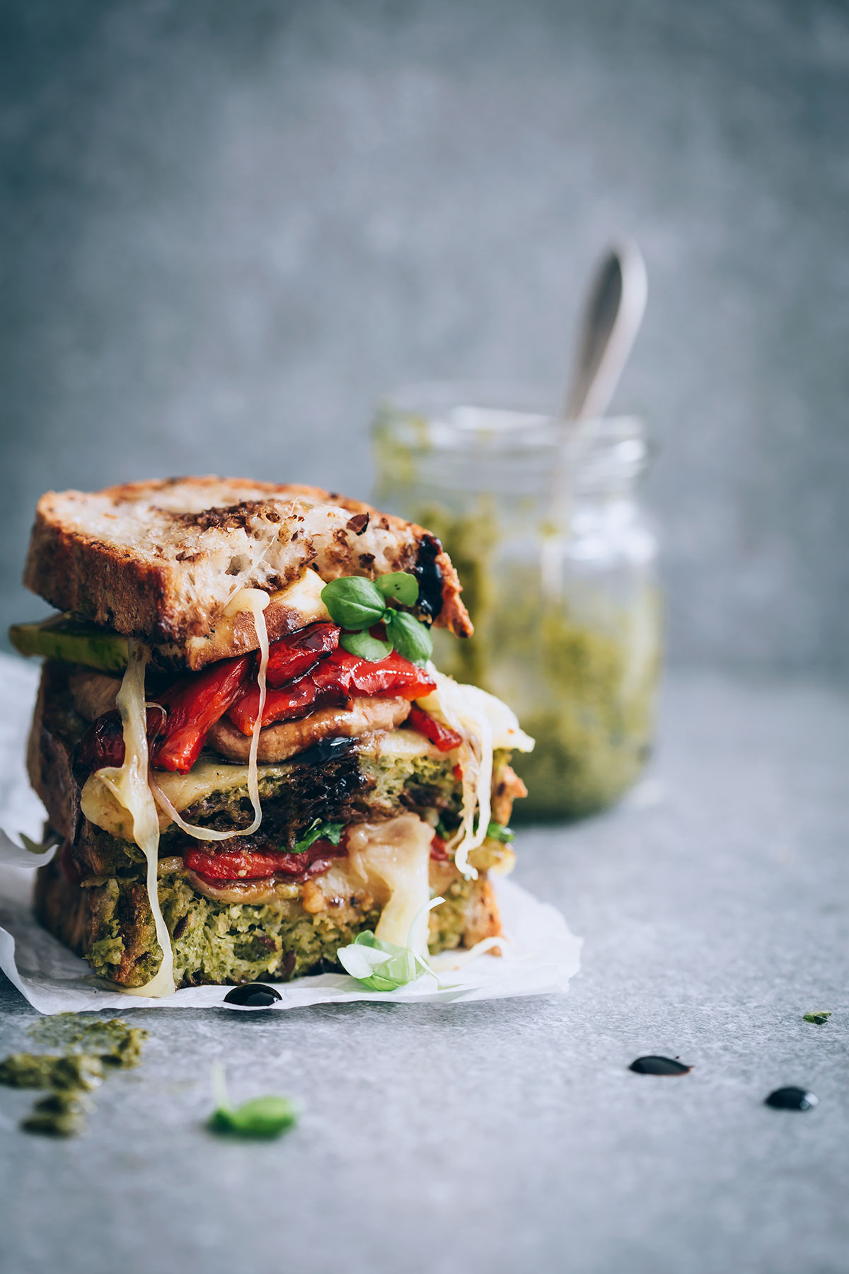 Grilled Vegetable Sandwiches with Havarti and Balsamic Drizzle