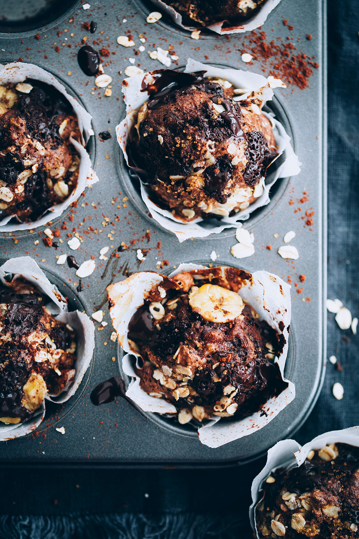 Greek Yogurt Chocolate Chunk Banana Oat Muffins