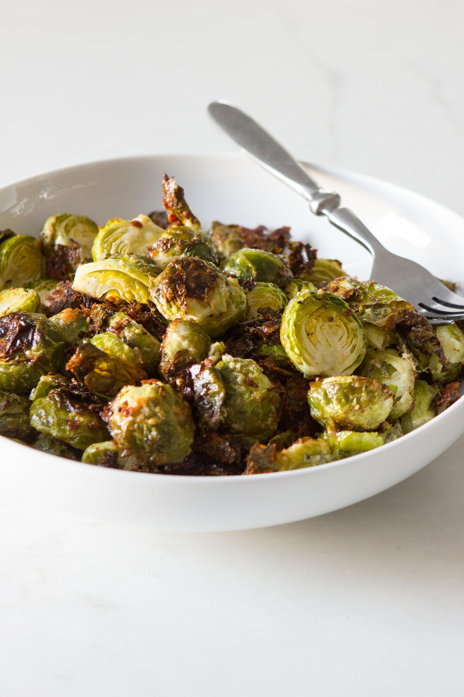 Crispy Cacio e Pepe Brussels Sprouts