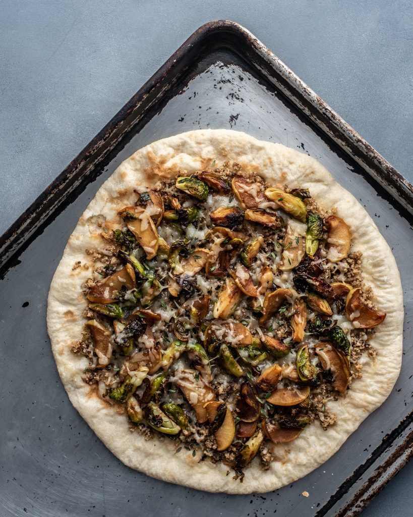 Brussels Sprout and Apple Pizza with Walnut Pesto