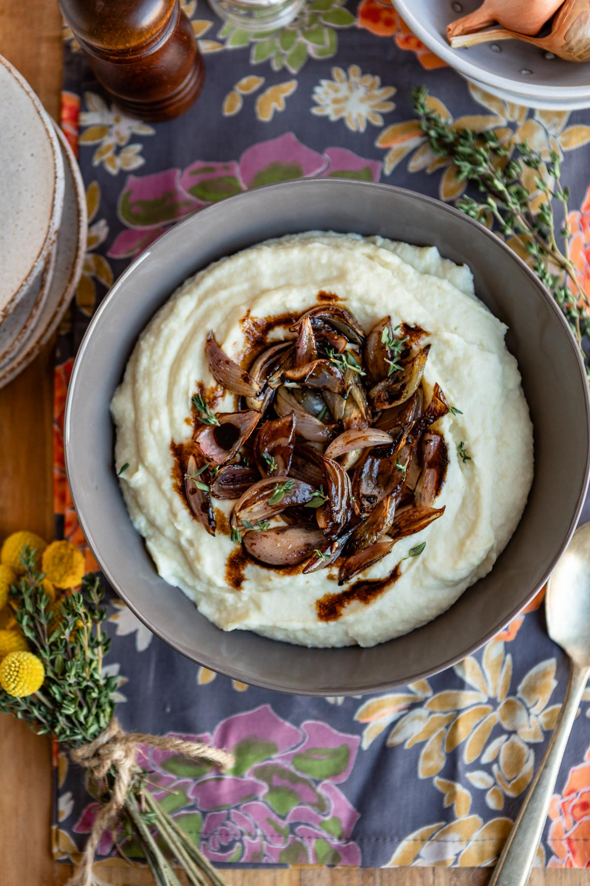 Celeriac Puree with Balsamic Roasted Shallots