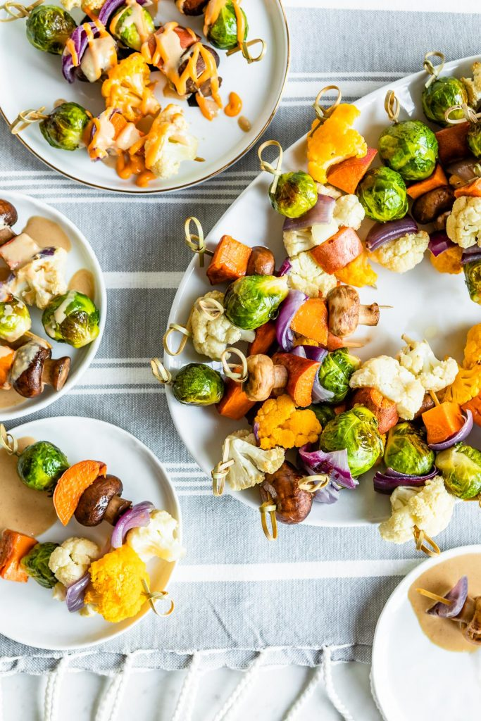 Roasted Vegetable Kabobs with Creamy Sesame Tahini Dipping Sauce and Sriracha Mayo