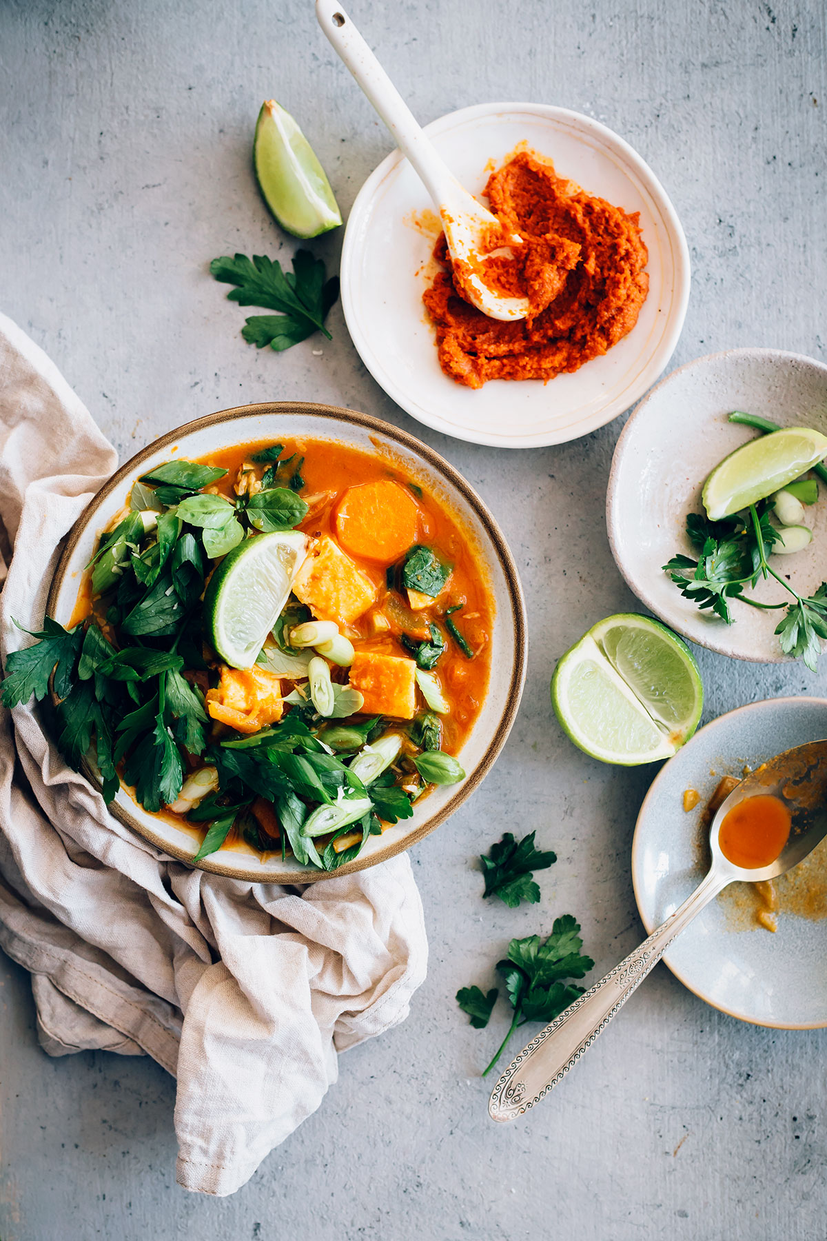 Veggie-Packed Tofu Coconut Red Curry Soup