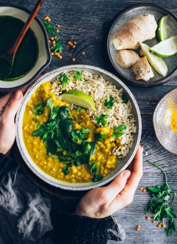 Sprouted Brown Rice and Curried Red Lentil Bowls with Mint Cilantro Chutney