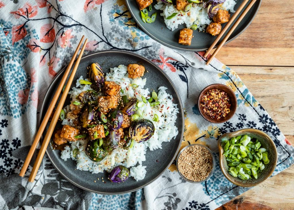 Sweet, Spicy and Sticky Stir Fry with Tempeh and Brussels Sprouts
