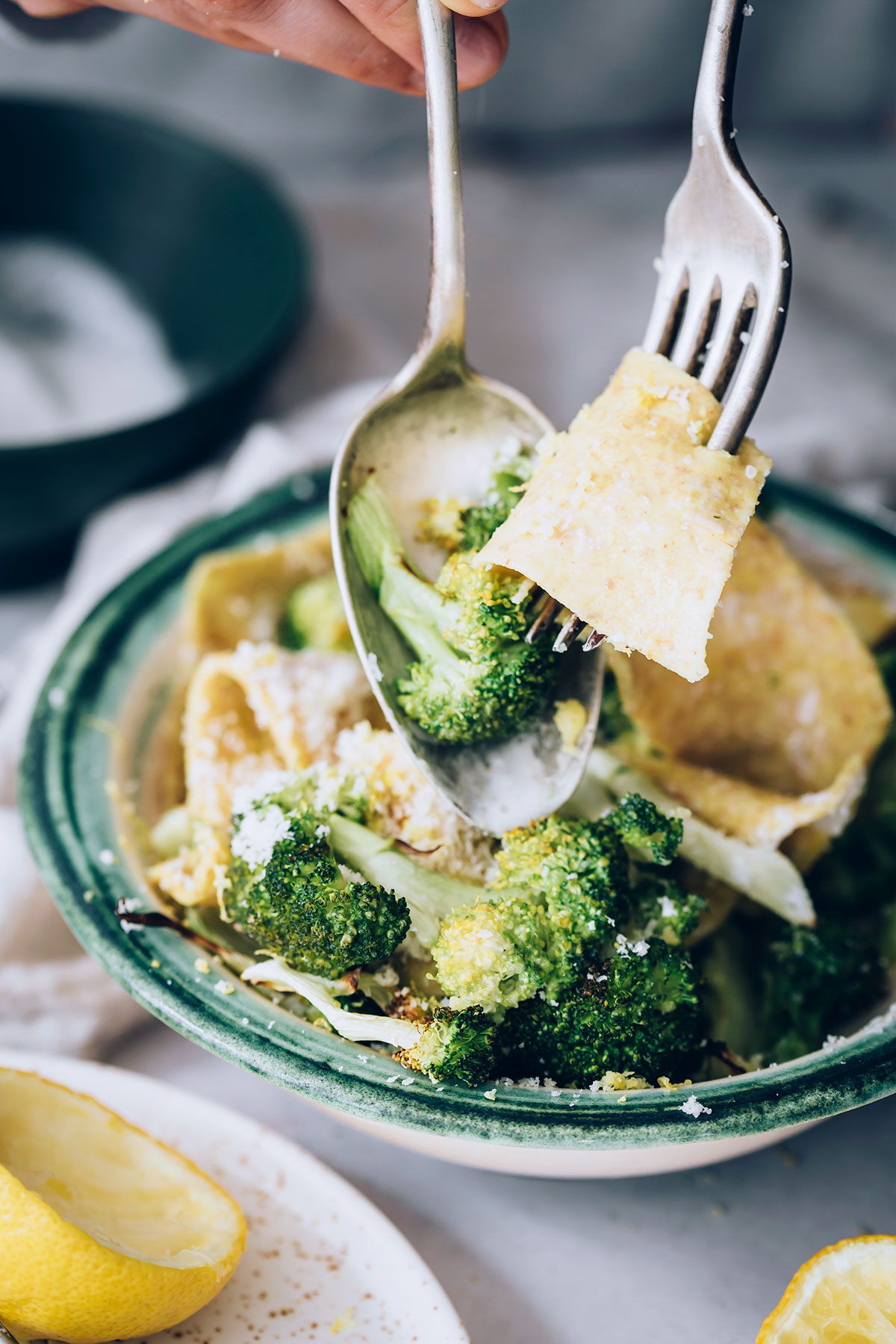 Creamy Lemon Pappardelle with Roasted Broccoli
