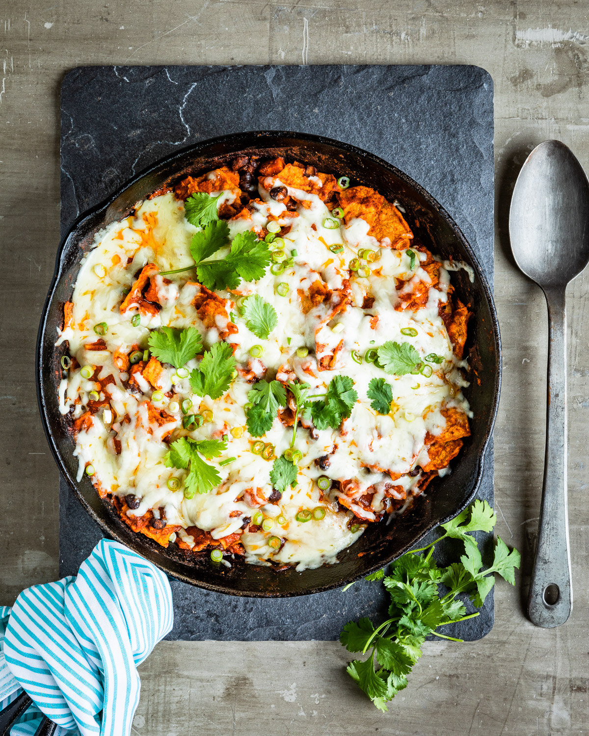 One-Pan Vegetarian Enchilada Skillet with Sweet Potatoes and Black Beans