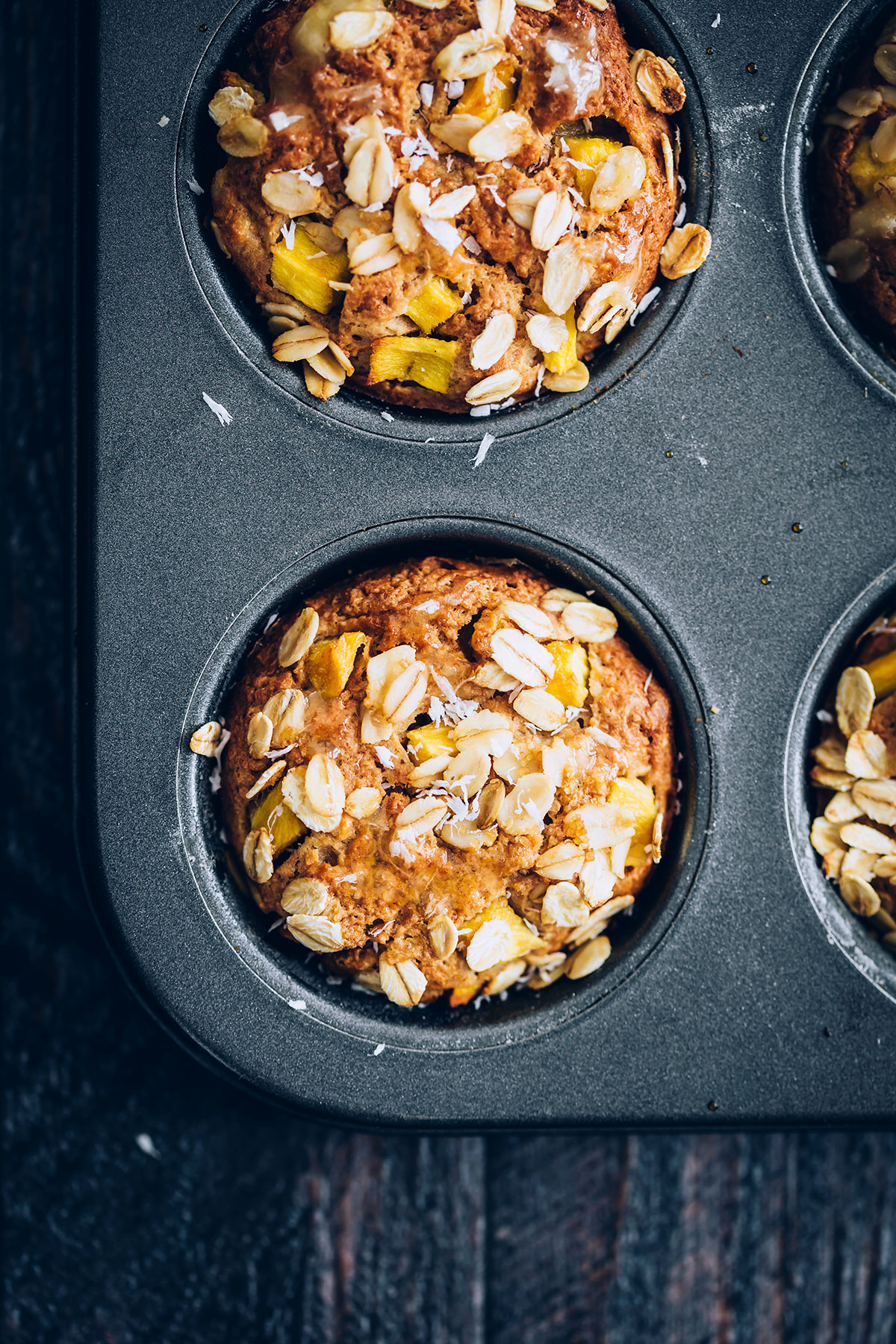 Greek Yogurt Oat Mango Muffins