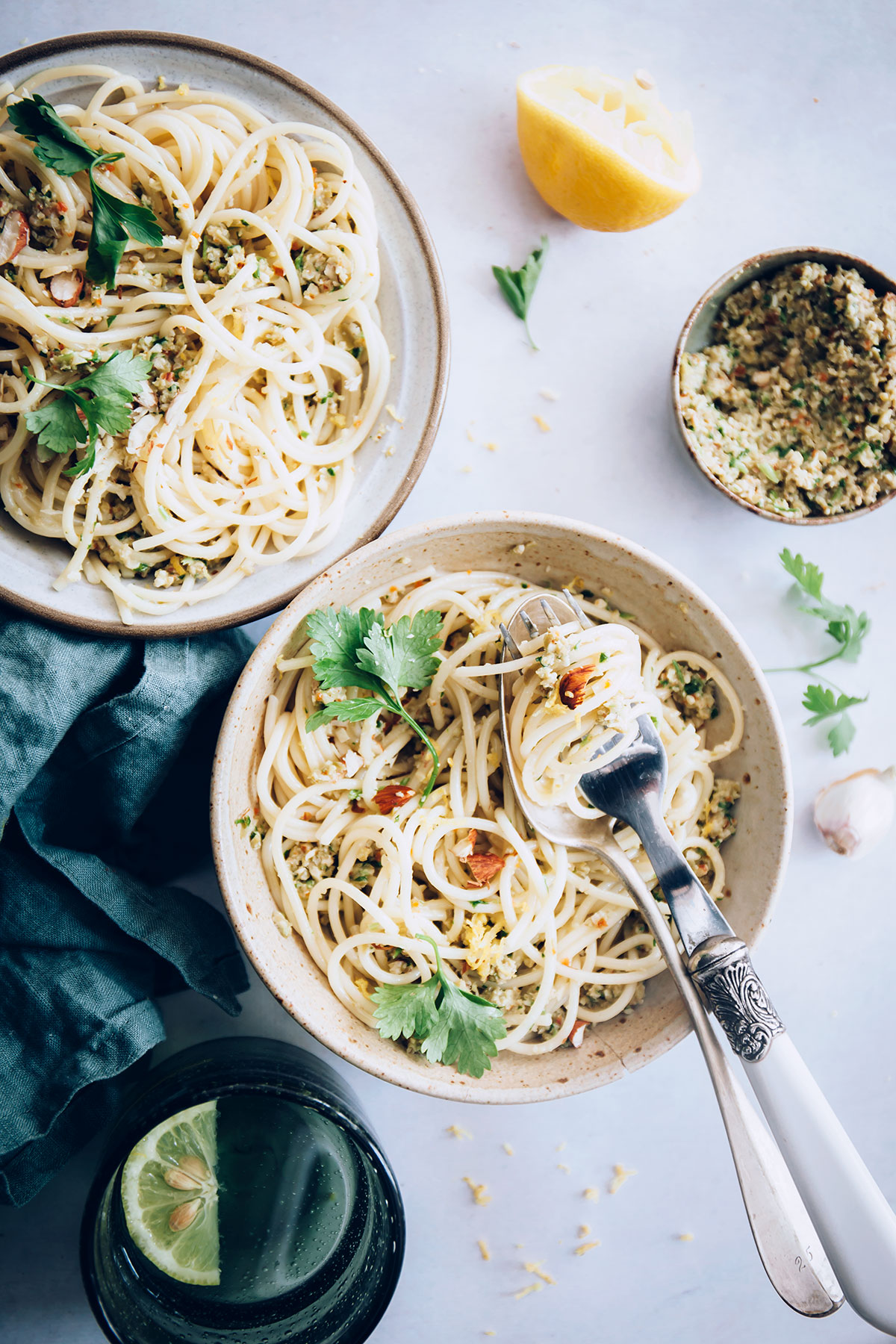Spaghetti with Toasted Almond and Green Olive Pesto