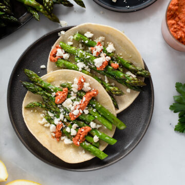 Roasted Asparagus Tacos with Harissa Romesco