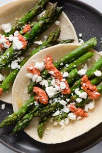 Roasted Asparagus Tacos with Harissa Romesco