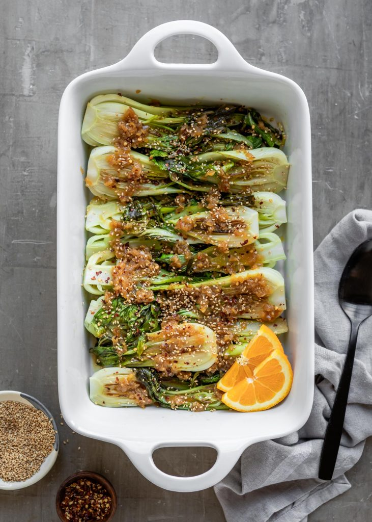 Seared Baby Bok Choy with Orange and Tamari
