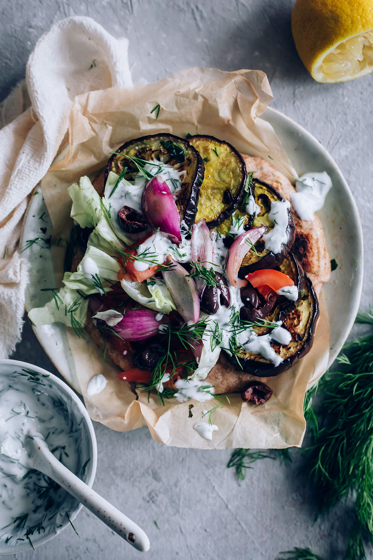 Grilled Eggplant Gyros with Vegan Tzatziki