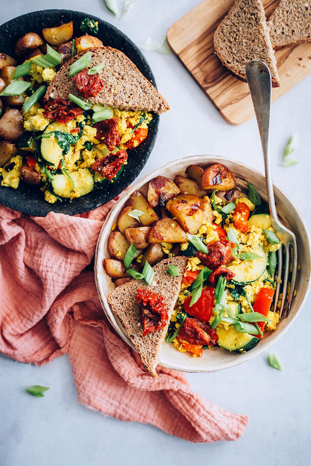 Garden Tofu Scramble Bowls with Smoky Red Potato Hash