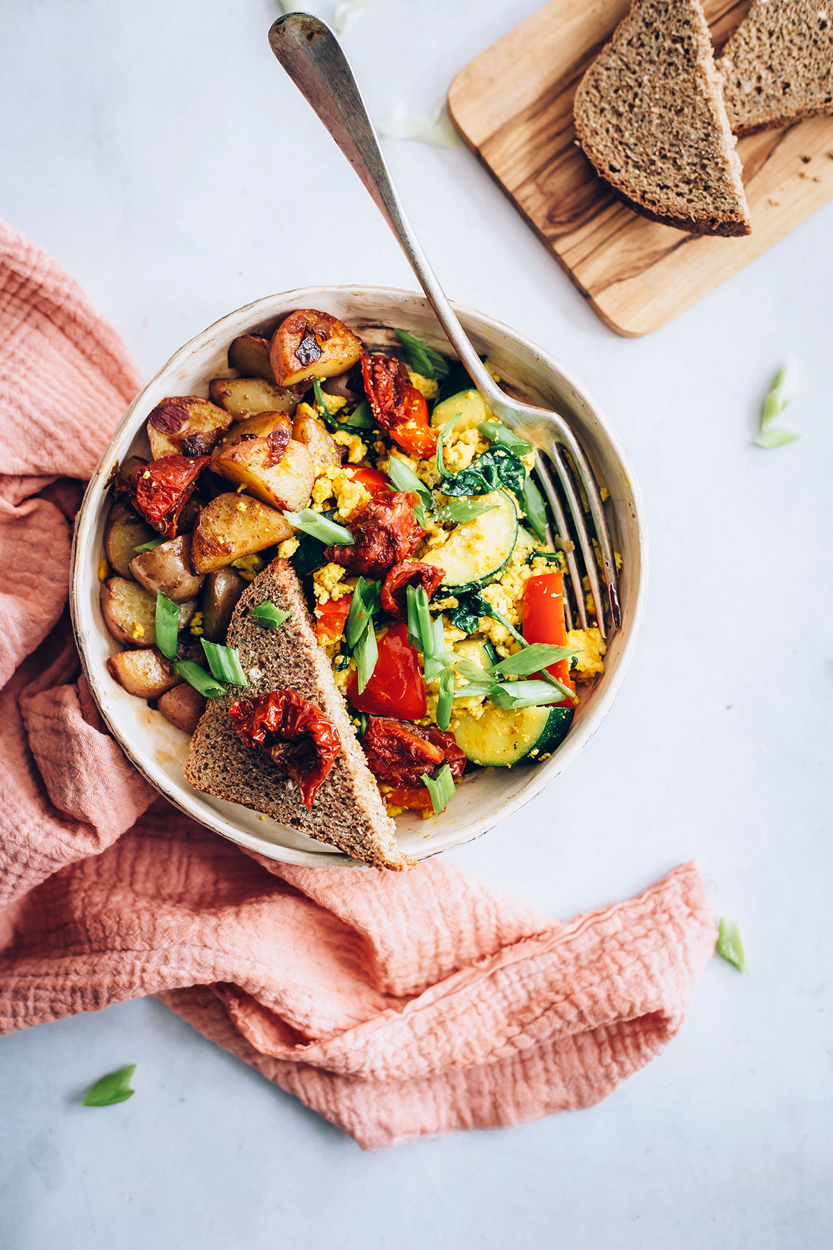 Garden Tofu Scramble Bowls with Smoky Red Potato Hash