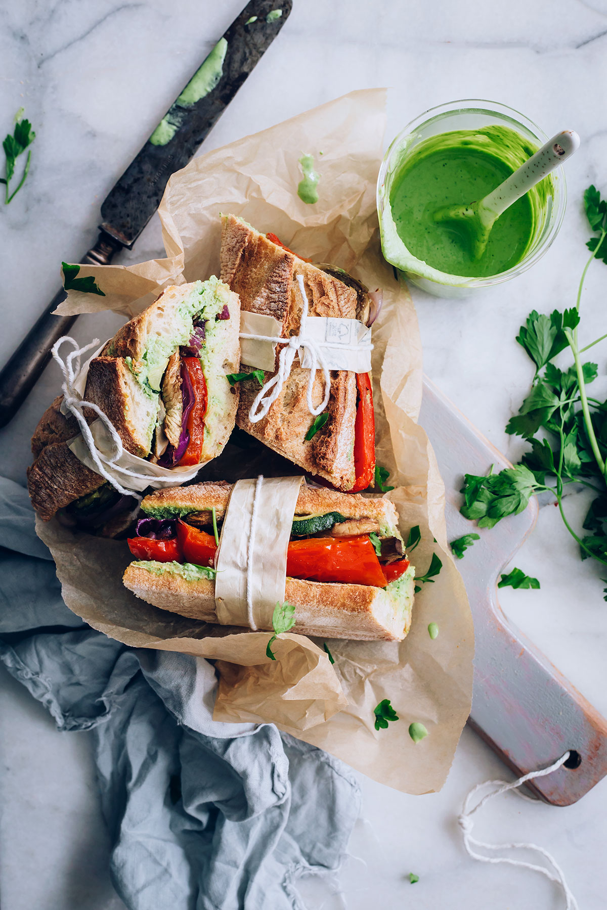 Summer Vegetable Sandwiches with Chimichurri Aioli