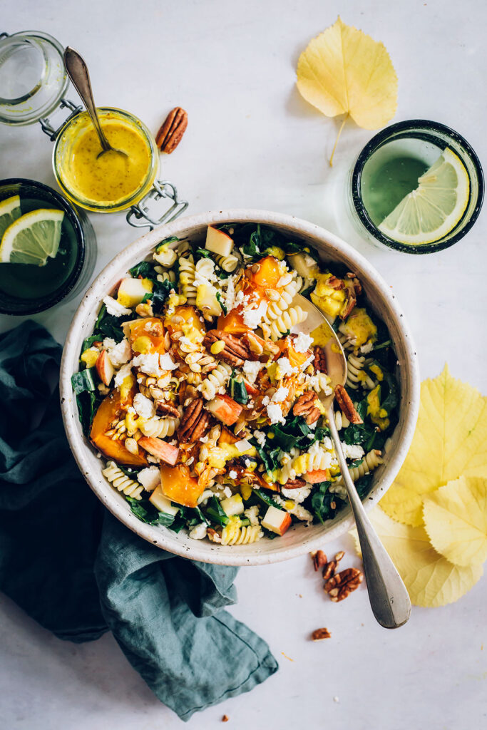 Autumn Pasta Salad with Roasted Squash, Kale and Feta Cheese