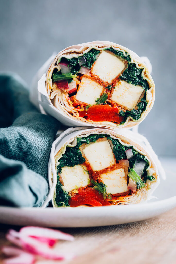 Crispy Buffalo Tofu Wrap with Spinach and Roasted Red Pepper