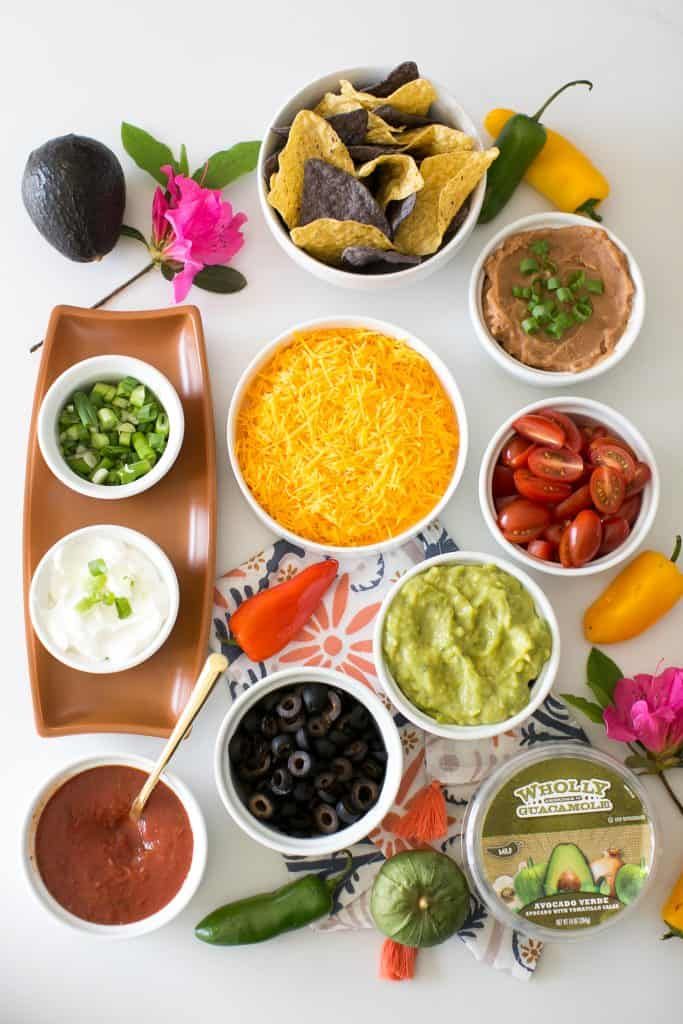 Deconstructed 7-Layer Dip Nachos from Hello Glow
