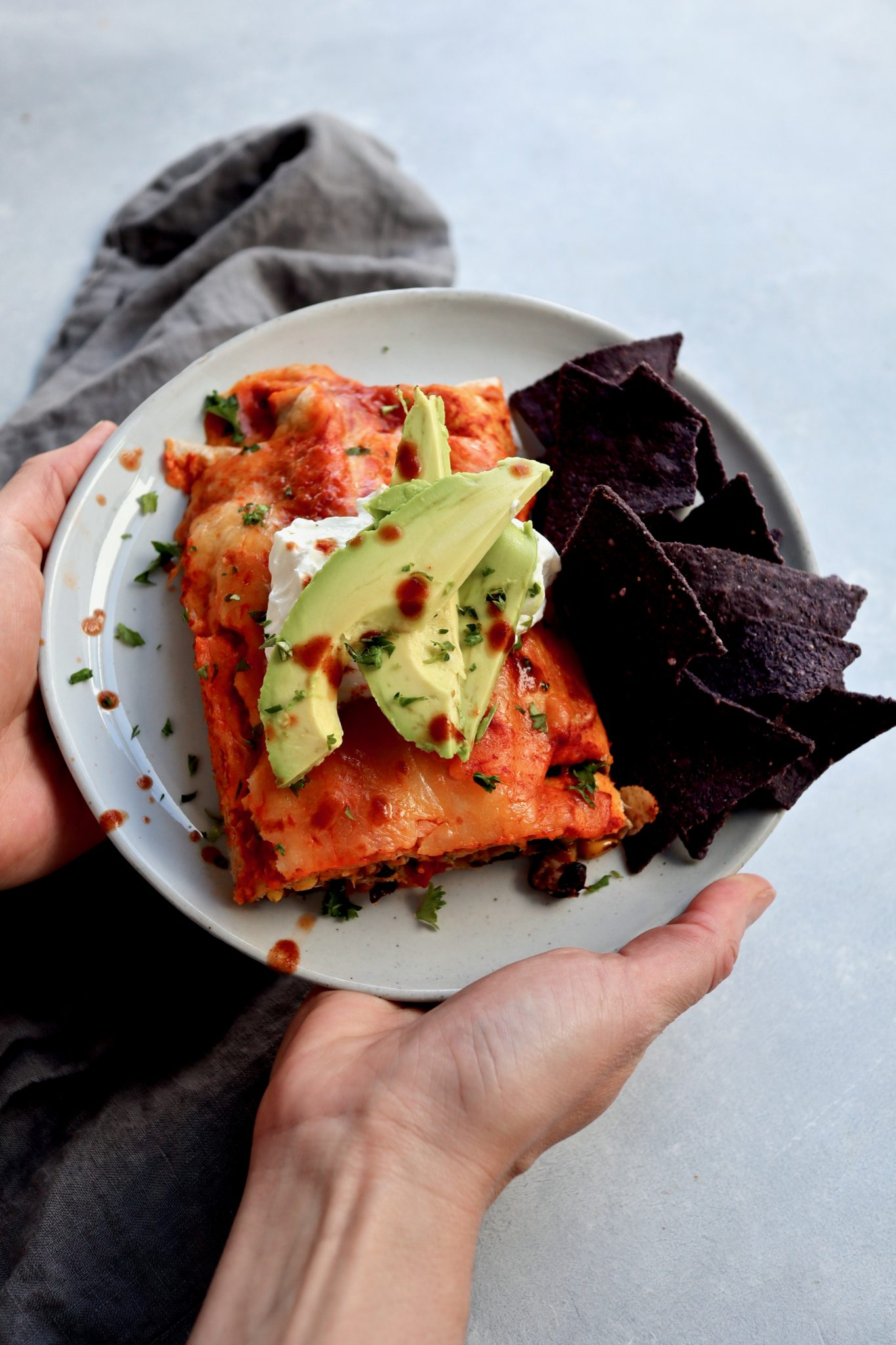 Small-batch black bean, corn & spicy sweet potato enchiladas from Cait's Plate