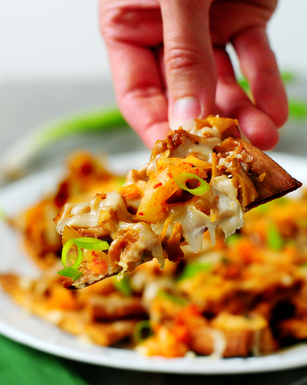 Korean BBQ Jackfruit Nachos with Kimchi from Alison's Allspice