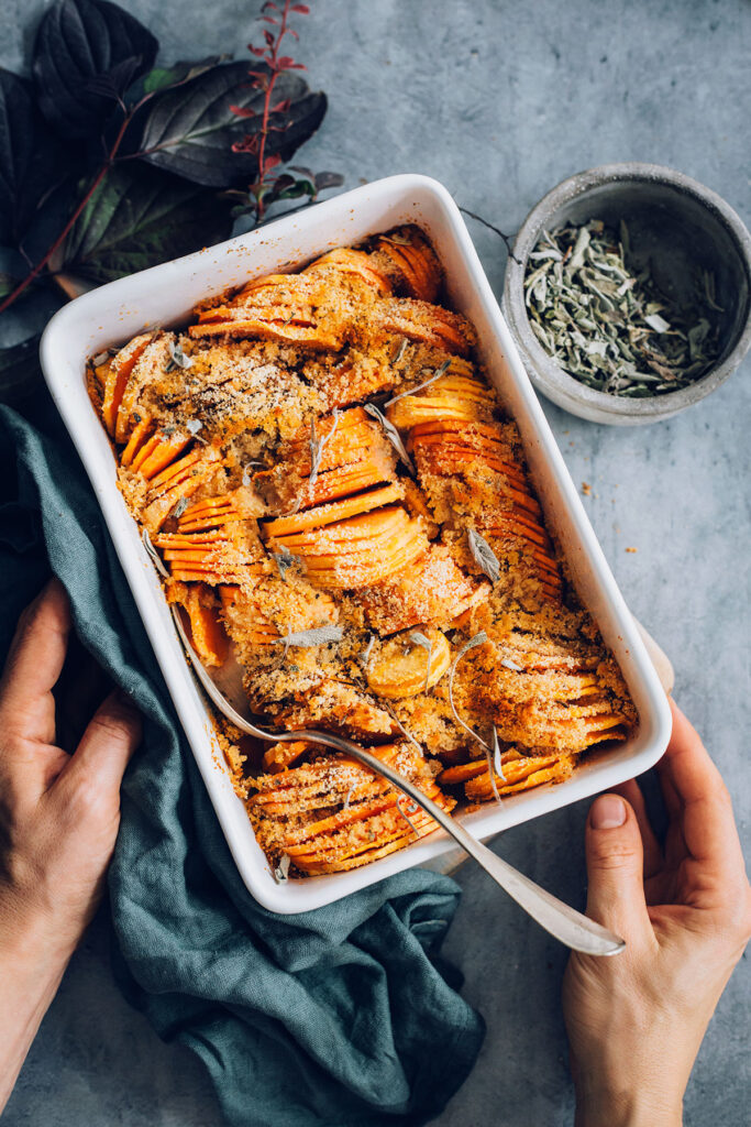 Sage-Infused Savory Sweet Potato Casserole (Vegan and Gluten-Free)