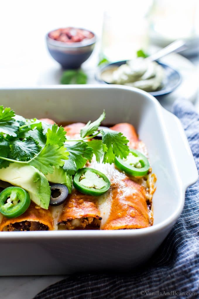 Cheese Vegetarian Tofu Enchiladas from Vanilla and Bean