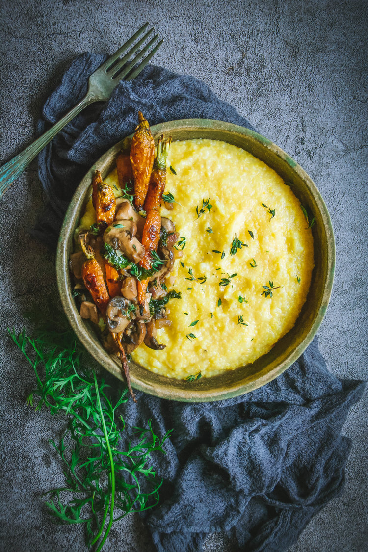 Polenta with Mushrooms, Kale and Roasted Carrots from Calm Eats