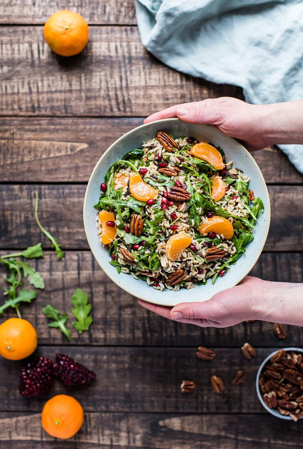 Wild Rice Salad with Pomegranate & Satsuma Mandarins from Foraged Dish