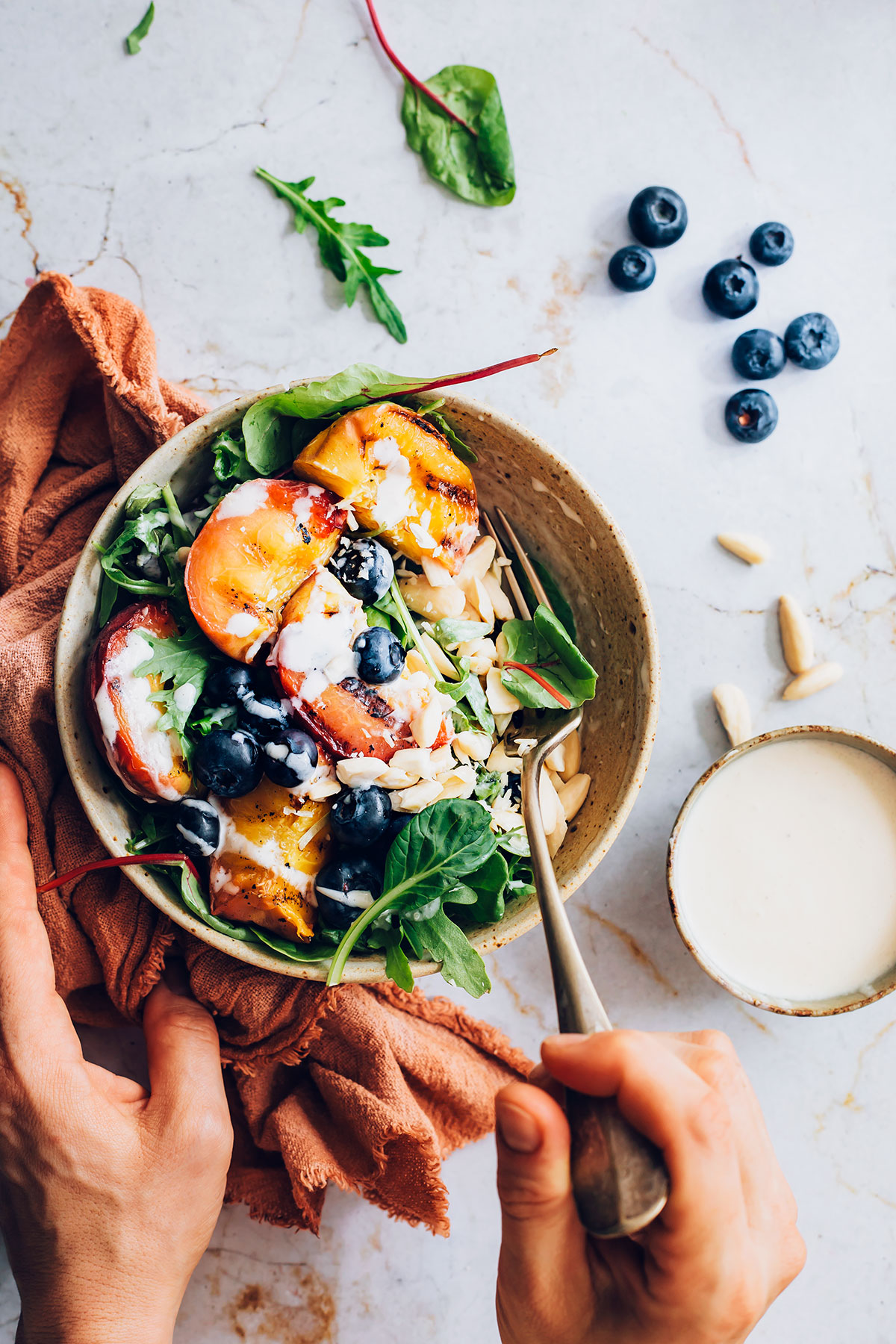 Grilled Peach Salad + Goat Cheese Dressing - HelloVeggie.co