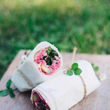 Beet Hummus Wrap - HelloVeggie.co